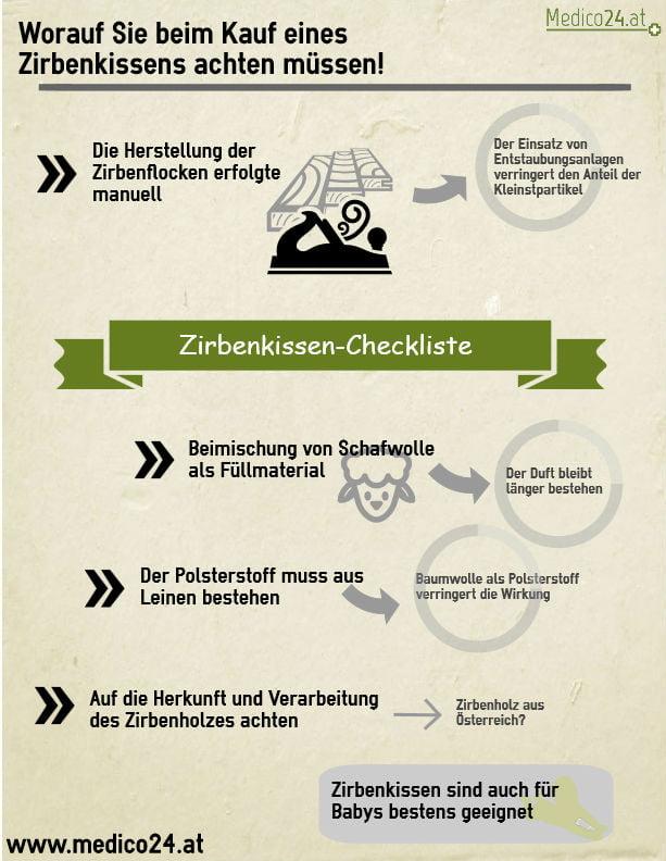 Infografik zeigt wichtige Aspekte für den Kauf eines Zirbenkissens